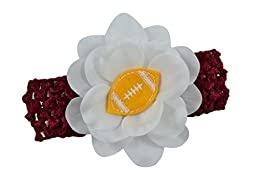 Baby Embroidered Felt Football Team Flower Headband Fits Newborns to Toddlers (Maroon Band / Gold Ball)