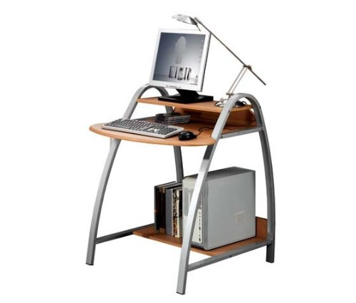 SixBros. Office - Scrivania ufficio porta pc faggio - S-208/89 - MDF colore faggio - struttura metallo argento