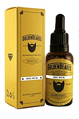 Organic Beard Oil - BIG SUR 30ml *Golden Beards* | 100% Organic | Jojoba & Argan & Almond Oil Moisturise your beard and skin, get your beard on point, the perfect grooming product, mens beard grooming 100% Vegan & Organic Oils for real beards - Stop itchi