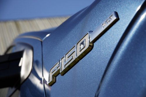 Ford F-150 XLT (2013) Truck Art Poster Print on 10 mil Archival Satin Paper Blue Emblem Closeup View 20
