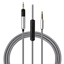 M.Way Stylish Multifunctional Replacement Upgrade Audio Cable 3.5mm with Remote & Mic for phone to Technica ATH-M50x ATH-M40x Headphone with Samsung iphone LG Nokia HTC etc smartphone 1.2M