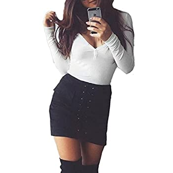 MINICOP Womens' Vintage Sexy Lace Up High Waist Bodycon Faux Suede Mini Skirt