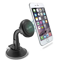 TechMatte MagGrip Dashboard and Windshield Magnetic Universal Car Mount Holder for Smartphones including iPhone 6, 6S, Galaxy S6, S6 Edge - Black