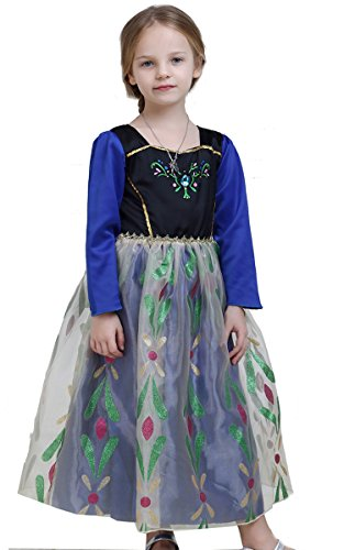 Santana Fashion Girls Snow Queen Elsa Anna Costume Snow Princess Dresses