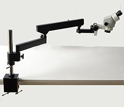 GOWE 7X-45X Binocular Articulating Arm Pillar Clamp Zoom Microscope long working distance Microscope WF10X/20