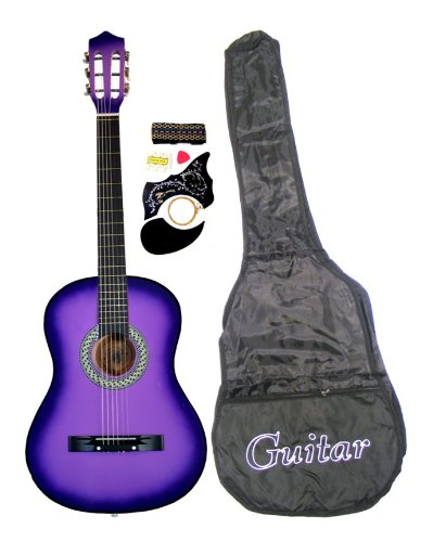 38″ PURPLE Acoustic Guitar Starter Package, Guitar, Gig Bag, Strap, Pitch Pipe & DirectlyCheap(TM) Translucent Blue Medium Guitar Pick