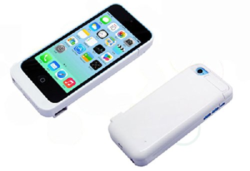 Iphone 5C Slim Battery Case Battery Rechargeable Backup Case Charger Battery Case Cover Portable Outdoor Moving Battery Slim Light External Battery 2200 Mah For Iphone 5C With 4 Led Lights And Built-In Pop-Out Kickstand Holder Support Ios 6 Ios 7 Ios 8 Sh