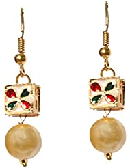 DS Goldcolor Pearl With Meenakari And Kundan Dangle And Drop Earrings For Women(DS25)