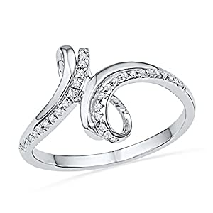 10kt White Gold Womens Round Natural Diamond Bypass Band Fashion Ring (.10 cttw.)