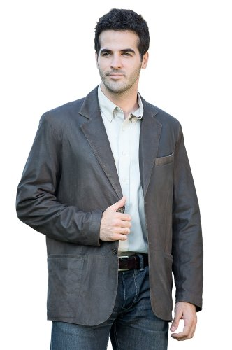 Beaumont Patina Lambskin Leather Blazer, Bark, Size 40
