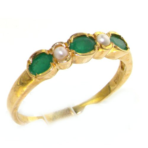 9K Yellow Gold Womens Emerald & Pearl Anniversary Eternity Band Ring - Size 12 - Finger Sizes 5 to 12 Available - Suitable as an Anniversary ring, Engagement ring, Eternity ring, or Promise ring