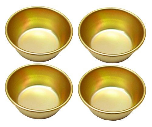 Nickel-silver Plated Aluminum Yellow 4 Bowls for Makgeolli(Korean Raw Rice Wine) (Makgeolli Rice Wine compare prices)