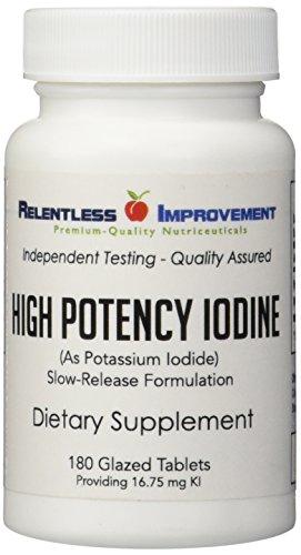 iodine-iodide-180ct-1675mg-pharmaceutical-glazed-slow-release-potassium-iodide-tablets-by-relentless