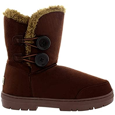 Womens Twin Button Fully Fur Lined Waterproof Winter Snow Boots - Brown - 3 - 36 - AEA0152