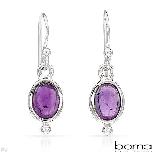 BOMA Wonderful Earrings With 1.50ctw Genuine Amethysts Beautifully Crafted in 925 Sterling silver Length 23mm