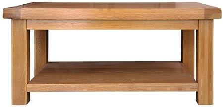 Pembroke oak furniture coffee table with shelf