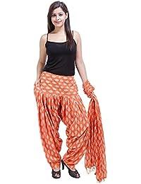 Fashion Store Women Printed Cotton Solid Orange Patiala Salwar Dupatta Set(Free Size,Multi Color)