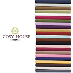 Cosy House Bed Sheets Set 4pc - Silky Soft High Quality Double Brushed 1500 Microfiber Bedding - Wrinkle Free, Hypoallergenic - Extra Deep Pocket Fitted & Flat Sheet with 2 Pillowcases (Black, King)