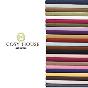 Cosy House Bed Sheets Set 4 pc - Silky Soft High Quality Microfiber Bedding - Wrinkle and Fade Free - Stain Resistant - Deep Pocket Fitted, Flat Sheet Plus 2 Pillowcases - Hypoallergenic (Wine, Queen)