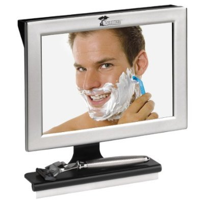 Fogless Shower Mirror with Squeegee by ToiletTree Products. Guaranteed Not to Fog, Designed Not to Fall. (Silver) (Shower Mirror With Radio compare prices)