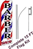"NEOPlex - ""Barber Shop (Extra Wide)"" Complete Flag Kit - Includes 12 Swooper Feather Business Flag With 15-foot Anodized Aluminum Flagpole AND Ground Spike"