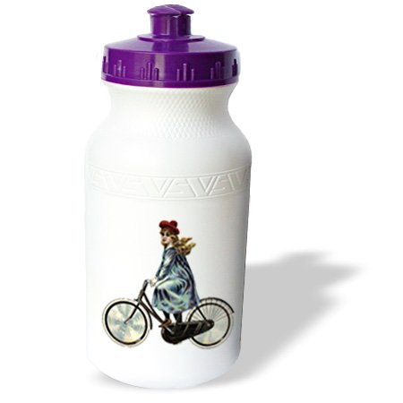 Wb_174668_1 Florene - Victorian Images - Image Of Girl Riding A Vintage Bicycle - Water Bottles back-393219
