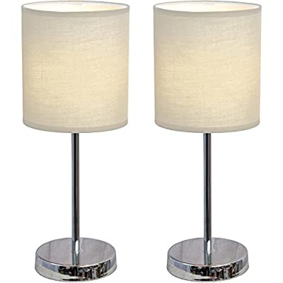2-Pack Set Contemporary Chrome Mini Basic Table Lamp with Fabric Shade, White