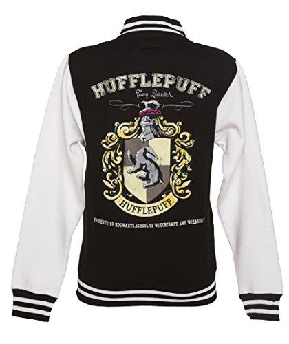 Ladies Black Harry Potter Hufflepuff Team Quidditch Varsity Jacket