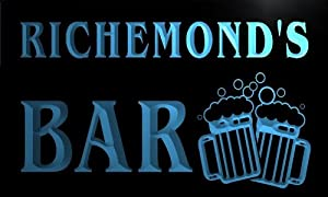 w102037 b RICHEMOND Name Home Bar Pub Beer Mugs Cheers Neon Light Sign