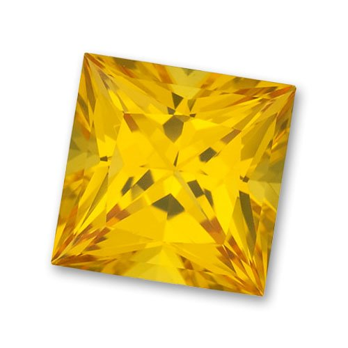 3x3mm Princess Cut Gem Quality Chatham-Created Cultured Yellow Sapphire Weighs .17-.21 Ct.