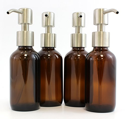 Amber Brown 4-Ounce Glass Bottles with Stainless Steel Pump Nozzles (4 Pack); Empty Boston Round Bottles Ideal for Lotion & Liquid Soap (Pump For Glass Jar compare prices)