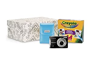 Olympus FE-46 12MP Digital Camera Black Crayola Kit with 5x Optical Zoom and 2.7 inch LCD, 64 pack of Crayons and Storage Box