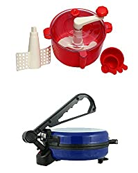 GTC COMBO OF EAGLE BLUE ROTI MAKER WITH RED DOUGH MAKER