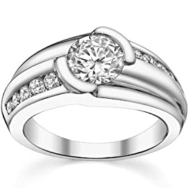 1.10 ct Men's Round Cut Diamond Pinky Ring in 18 kt White Gold