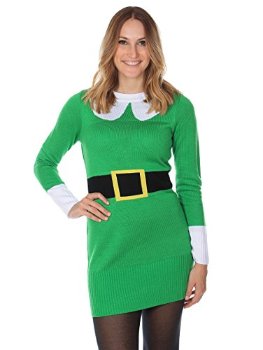 Women's Ugly Christmas Sweater - Elf Sweater Dress Green Size S