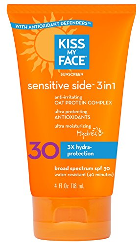 Kiss My Face Sun Screen Sensitive side 3 in 1 with Oat Protein Complex, SPF 30, 4 Ounce Tube