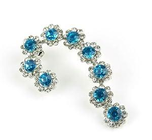 Fashion Women's Full Rhinestones Flowers Ear Wraps Ear Cuffs Earrings, Left Ear (blue&ice white rhinestones)