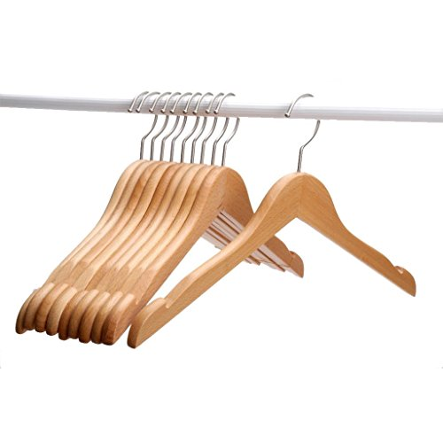 J.S. Hanger®Solid Beech Wooden Coat/Jacket Hangers, Set of 10 Wood Clothes Hangers with Polished Nickel-Plated Hook, Natural Finish