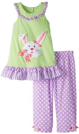 Rare Editions Little Girls' Bunny Applique Capri Set, Mint/Lilac, 5