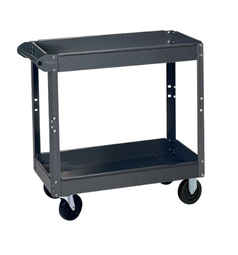 Edsal SC6000 Heavy Duty Industrial Gray Service Cart with Polypropylene Casters, 2 Shelves made of 18 Gauge Steel, 800 lb. Capacity, 32