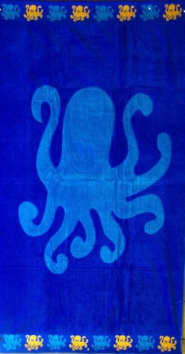 Egyptian Bedding Egyptian Cotton Jacquard Oversized Beach Towel, Octopus