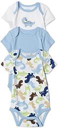 Little Me Dino 3 Pack Bodysuit, Blue Bell, 9 Months