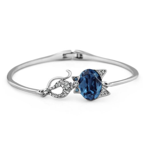 Cut Cat Design Platinum Plated Bangle Swarovski