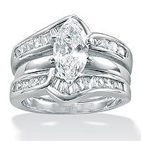 2-Piece DiamonUltraandtrade; Cubic Zirconia Sterling Silver Wedding Ring Set