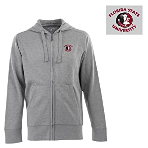 Florida State Signature Full Zip Hooded Sweatshirt (Grey) - Small by Antigua
