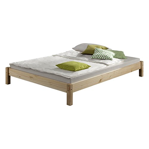 Futonbett Bett Einzelbett Massivholzbett TAIFUN,Kiefer, natur lackiert, 120 x 200 cm