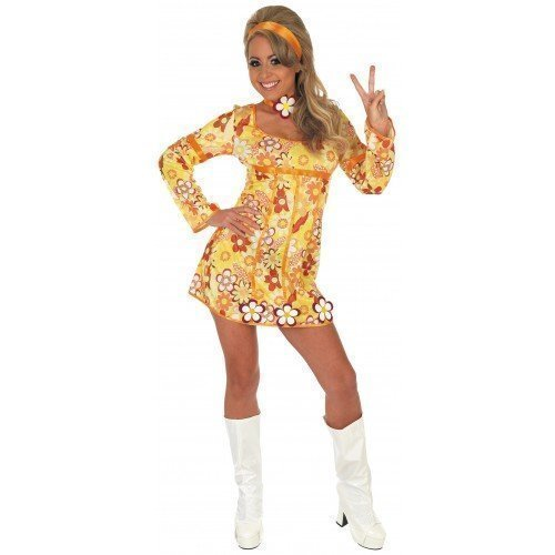 4 Piece Hippy Flower Power Dress Costume. Size 8 to 18