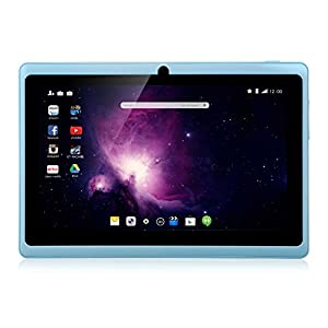 Dragon Touch Y88X Plus 7'' Quad Core Google Android 4.4 KitKat Tablet PC, IPS Display, HD Screen 1024 x 600, 8 GB, Bluetooth, Dual Camera, Netflix, Skype, 3D Game Supported - Sky Blue