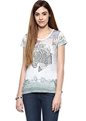 Fritzberg Soft Slim Fit Graphic Grey Round Neck Top