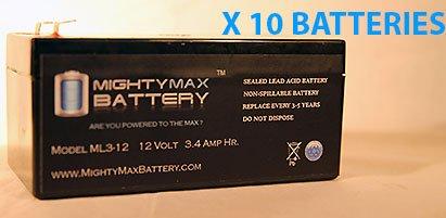 Ml3-12 - 12V 3Ah Sla Battery Replaces Bp3.6-12 Cf12V2.6 Cfm12V3 - 10 Pack